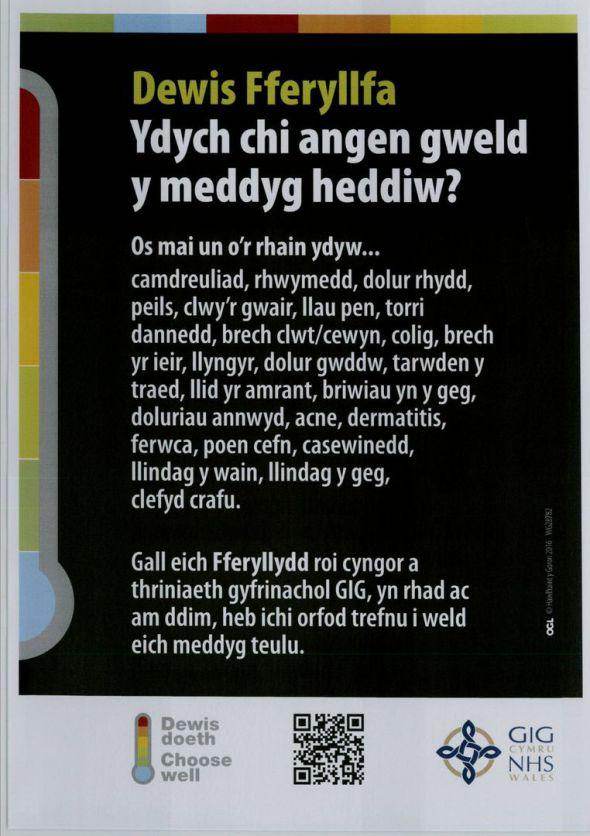 Choose Pharmacy Poster - Welsh