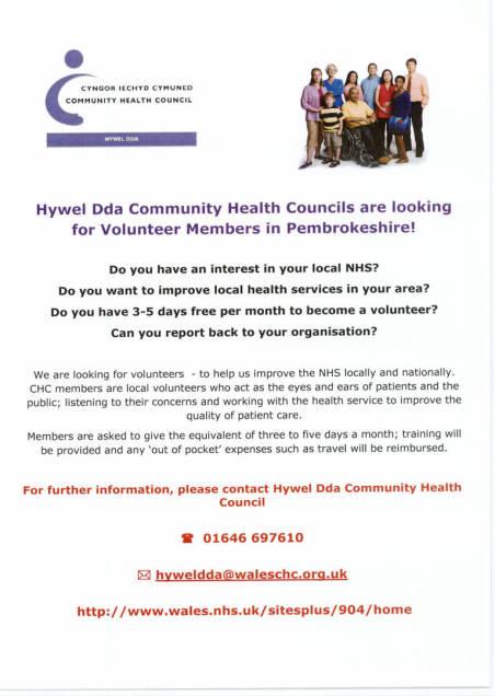 Hywel Dda CHC Volunteer Poster - English